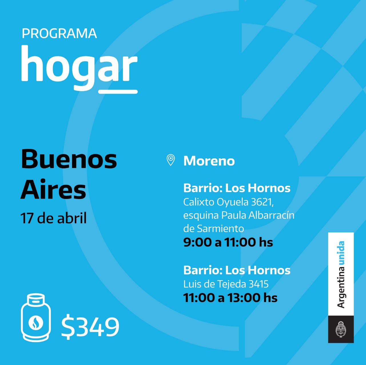 Programa Hogar en el barrio Los Hornos de Moreno