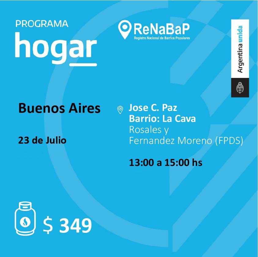 Operativo del Programa Hogar en el barrio La Cava de José C. Paz