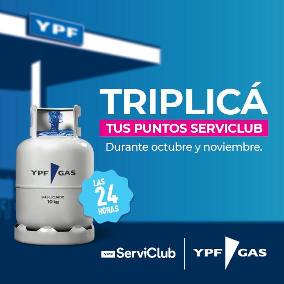 ¡Comprá tu garrafa en YPF y triplicá tus puntos ServiClub durante Octubre y Noviembre!