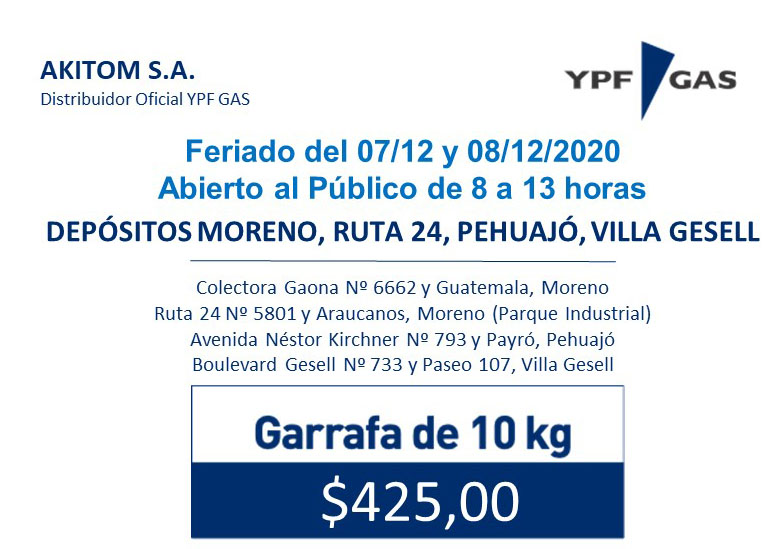 Horario del Feriado del 07/12 y 08/12/2020