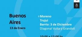 Operativo del Programa Hogar en el barrio 3 de Diciembre de Moreno