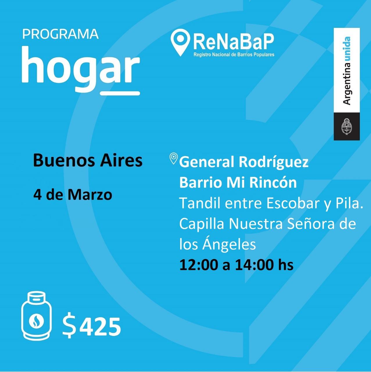 Operativo del Programa Hogar en el barrio Mi Rincón de General Rodríguez