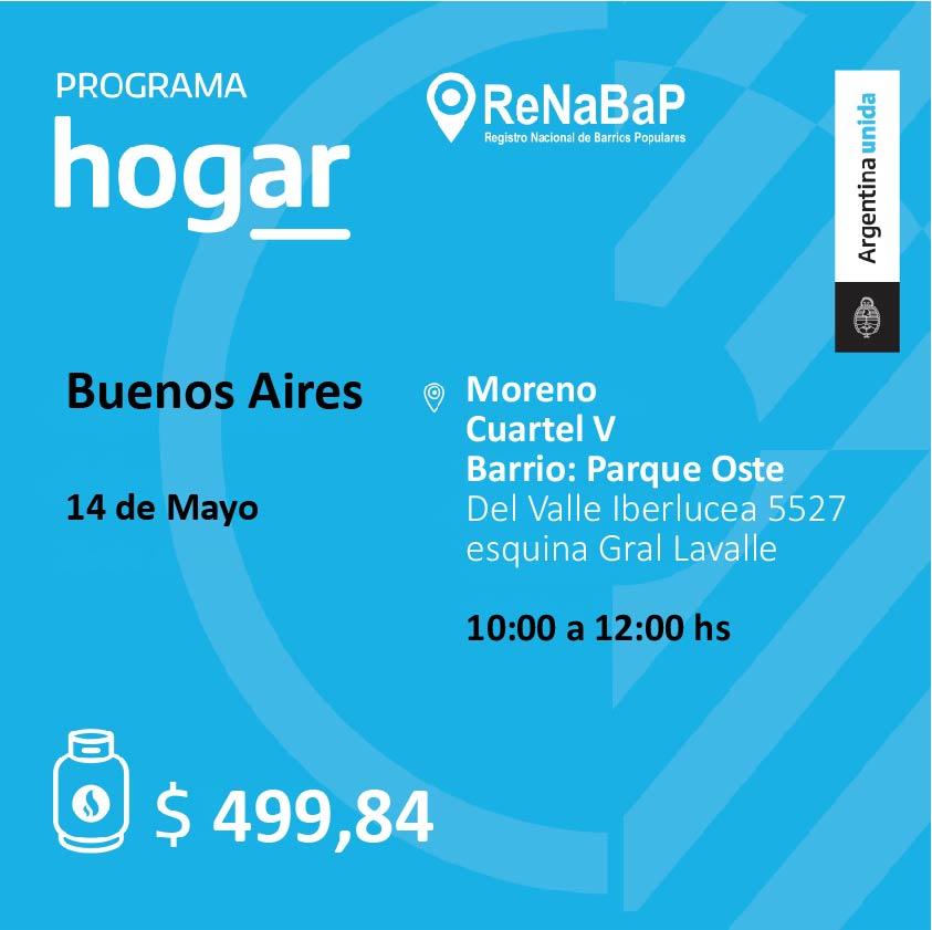 Operativo del Programa Hogar en el barrio Cuartel Quinto de Moreno