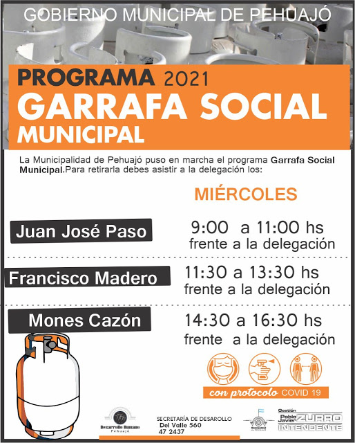 La Garrafa Social Municipal, presente en todas las localidades de Pehuajó