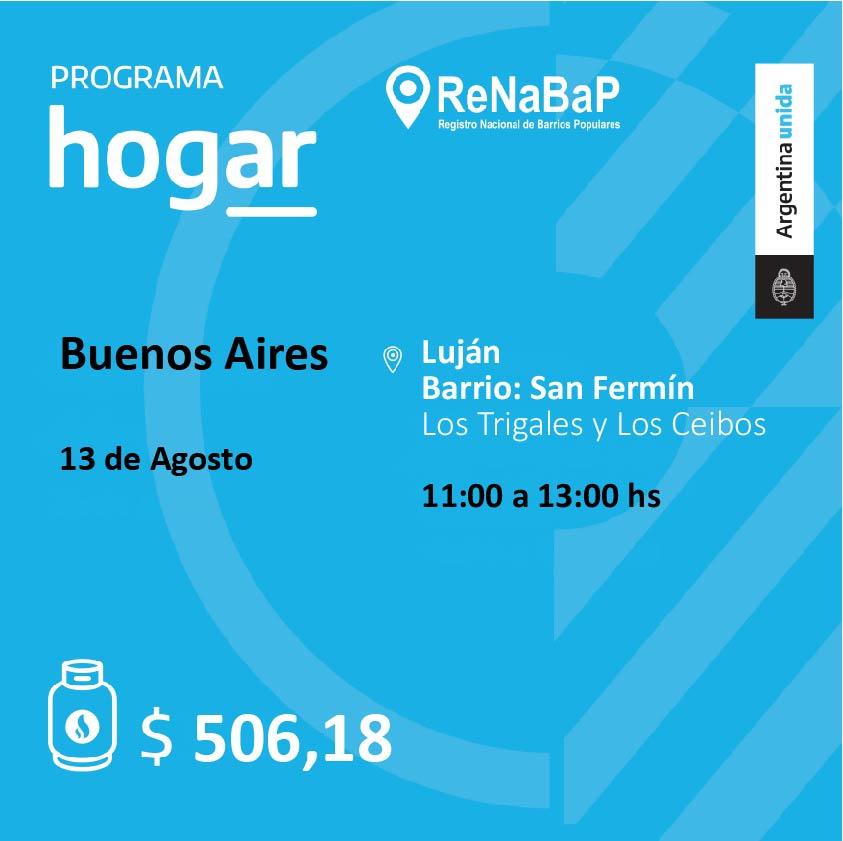 Operativo del Programa Hogar en el barrio San Fermín de Luján