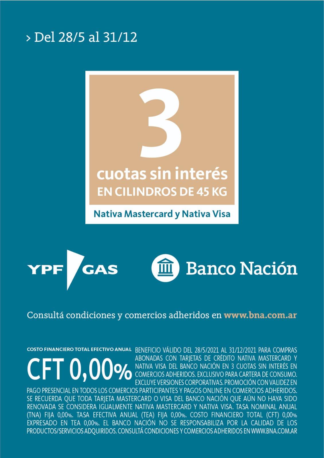 Promoción de YPF Gas y Banco Nación: Cilindros en 3 cuotas sin interés