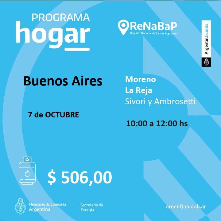 Operativo del Programa Hogar en el barrio La Reja de Moreno